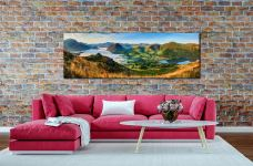 The morning mists receding back to Buttermere from the Loweswater Fells - Print Aluminium Backing With Acrylic Glazing on Wall