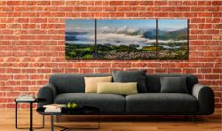 Derwent Water Cloud Inversion - 3 Panel Wide Mid Canvas on Wall