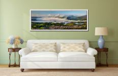 A cloud Inversion rising from Derwent Water revealing a sunlit Keswick - White Maple floater frame with acrylic glazing on Wall