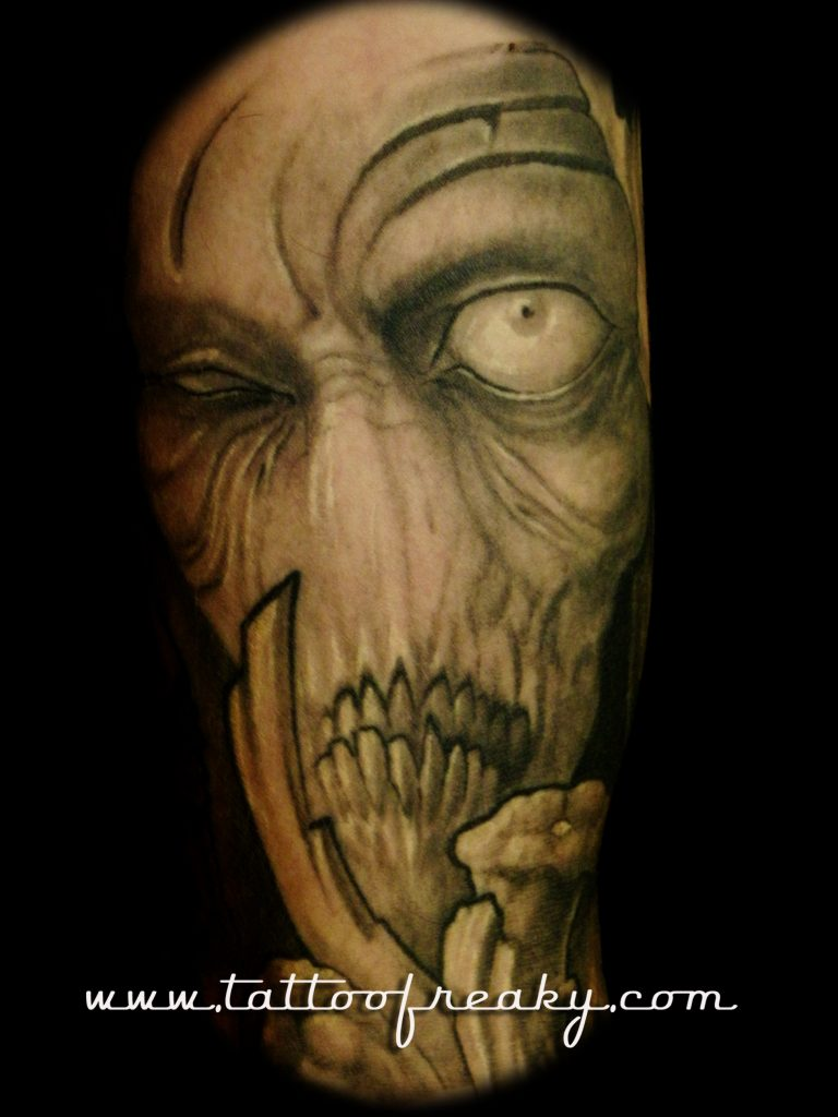 googly eyed beasty tattoo