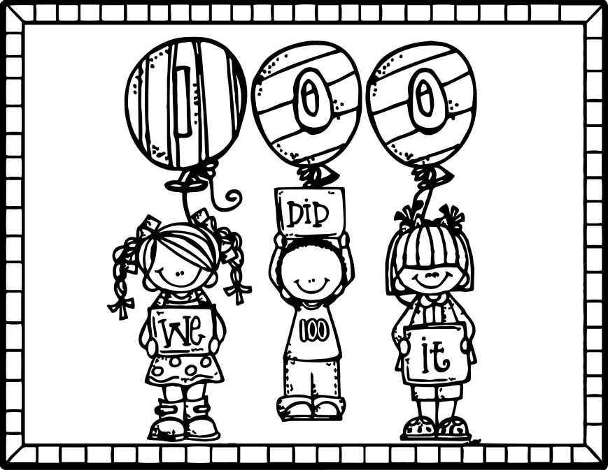 100th Day Of School Coloring Pages 100 Days Bus Balloon Coloring Page 100th Day Of School Pages Dollar