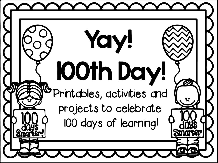 100th Day Of School Coloring Pages 100th Day Of School Yay Coloring Page Wecoloringpage
