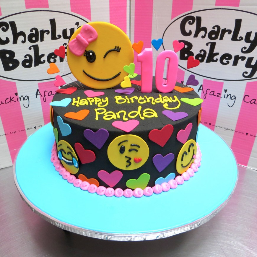 10Th Birthday Cake Emoji Themed Single Tier 10th Birthday Cake With Hearts An Flickr