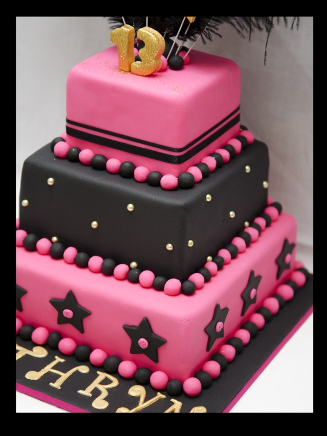 13Th Birthday Cake 13th Birthday Cake The Brief Hot Pink Black Gold With Flickr