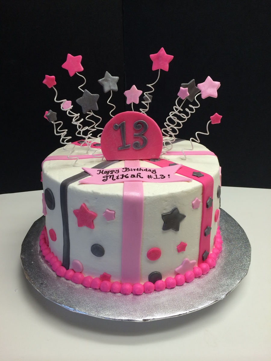 13Th Birthday Cake 13th With Stars Stripes And Polka Dots Pink