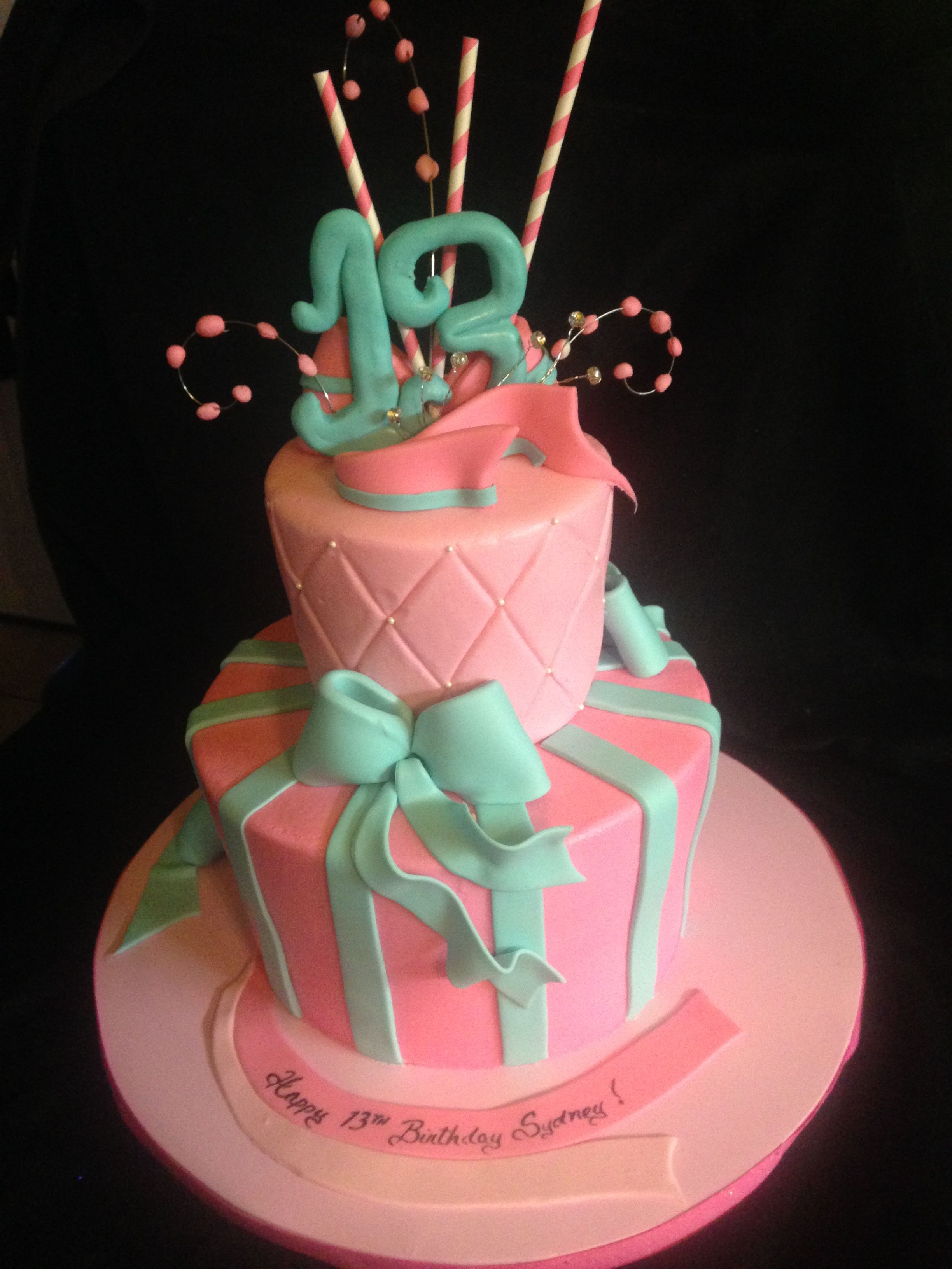 13Th Birthday Cake Happy 13th A Butter Cream And Fondant Details 2 Tier Design