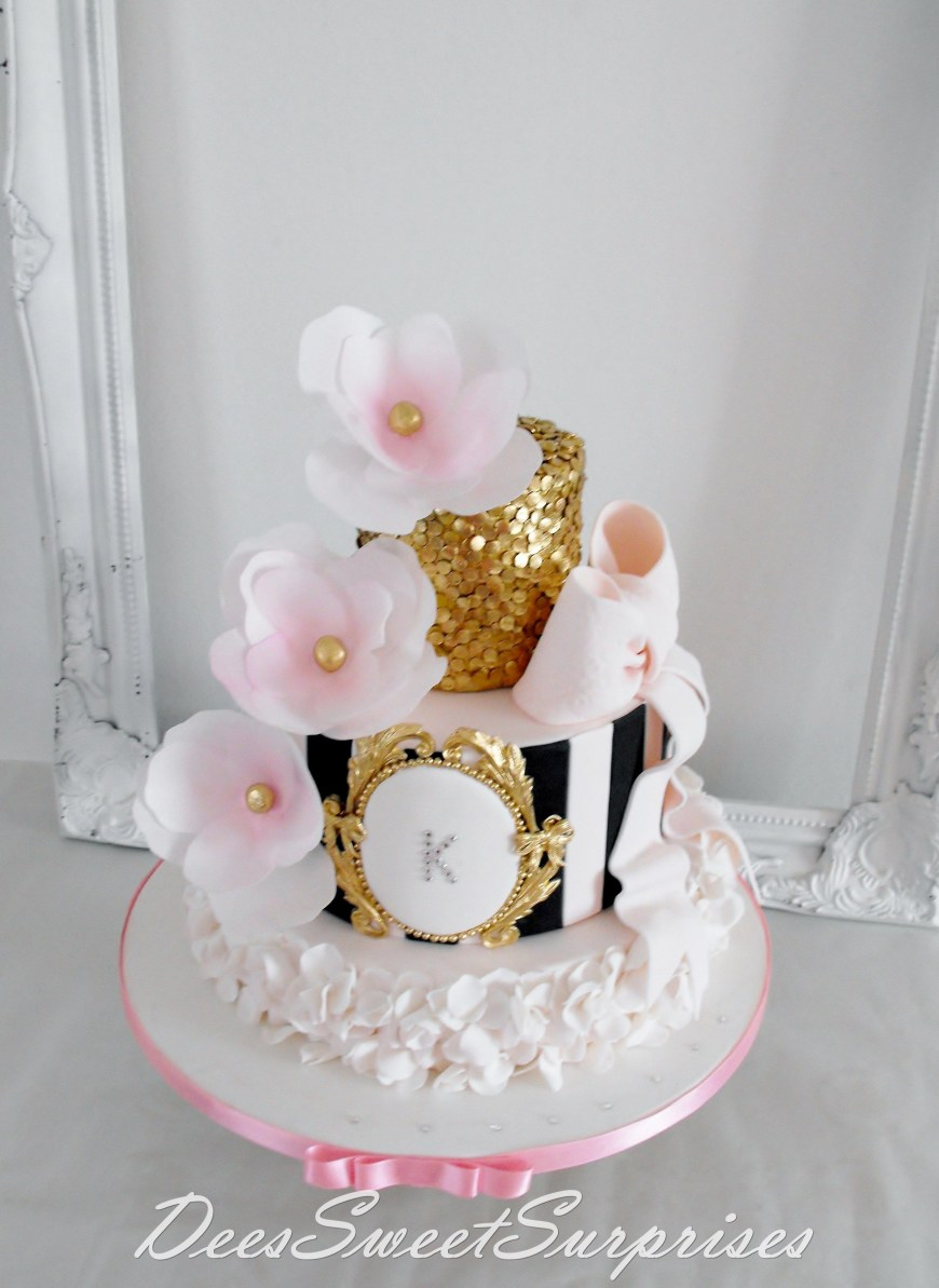 15Th Birthday Cakes For My Beautiful Daughter Pink Black And Gold Tiered
