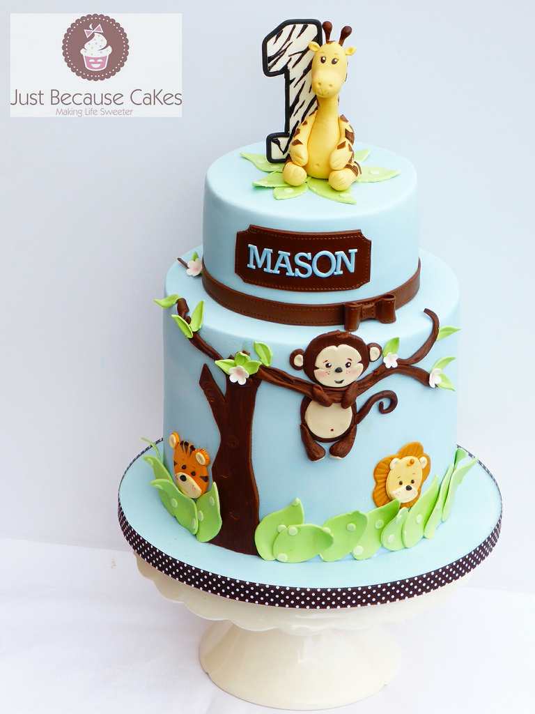 1St Birthday Cakes For Boys Jungle Animals First Birthday Cake For A Boy A Giraffe A Flickr
