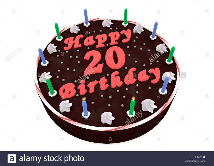 20Th Birthday Cake Chocolate Cake For 20th Birthday Stock Photo 71915852 Alamy