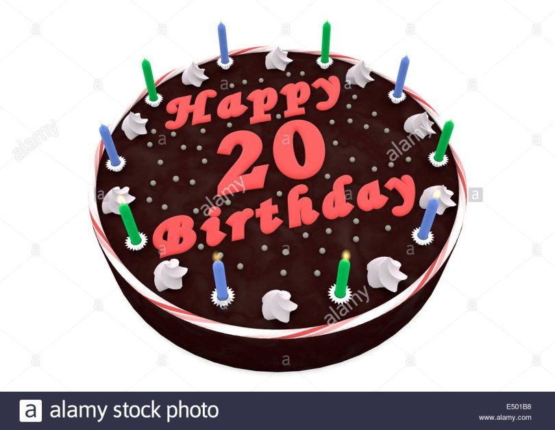 20Th Birthday Cake Chocolate Cake For 20th Birthday Stock Photo 71915852 Alamy