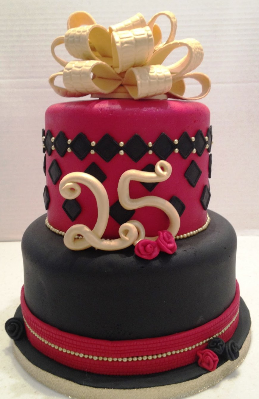 25Th Birthday Cake Ideas Marymel Cakes Red Black Gold 25th Birthday