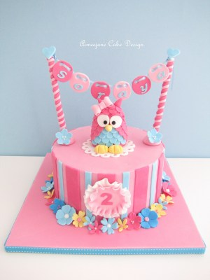 2Nd Birthday Cake Pink Owl 2nd Birthday Cake With Hanging Name So Adorable Cakes