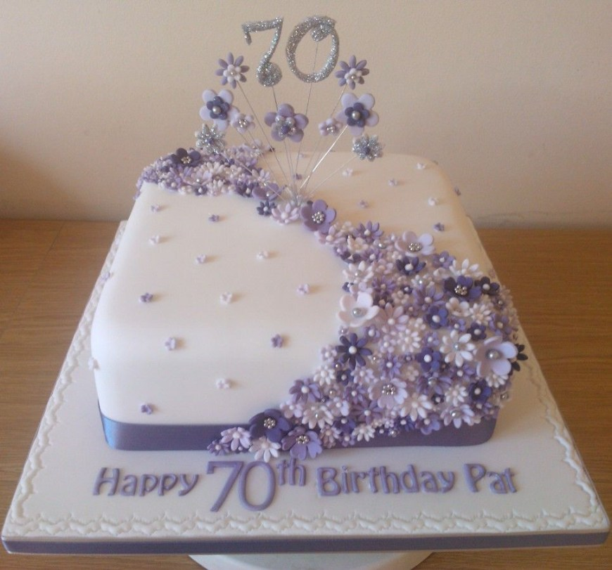 70Th Birthday Cake Ideas Lilac Flower Cake To Celebrate A 70th Birthday 90th Birthday
