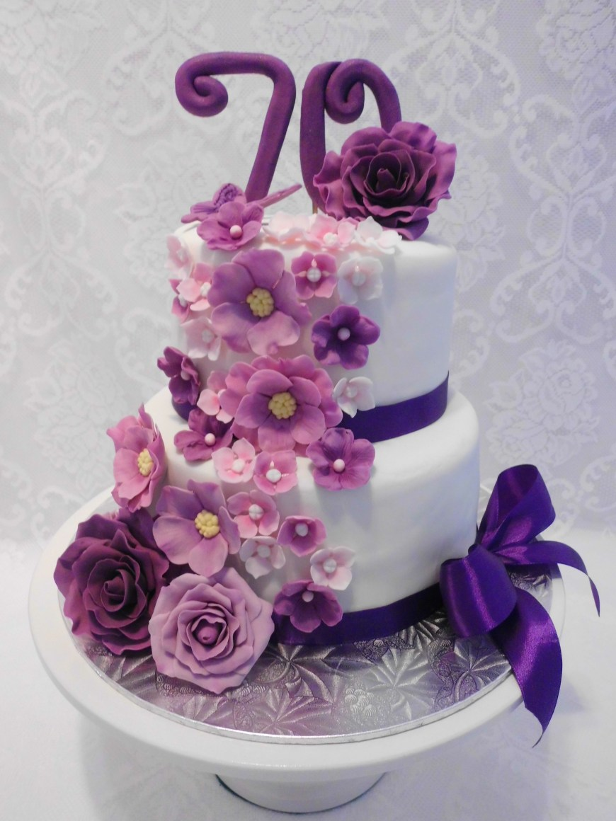 70Th Birthday Cakes Floral Cascade In Purple Pink Mauve 70th Birthday Cake For A