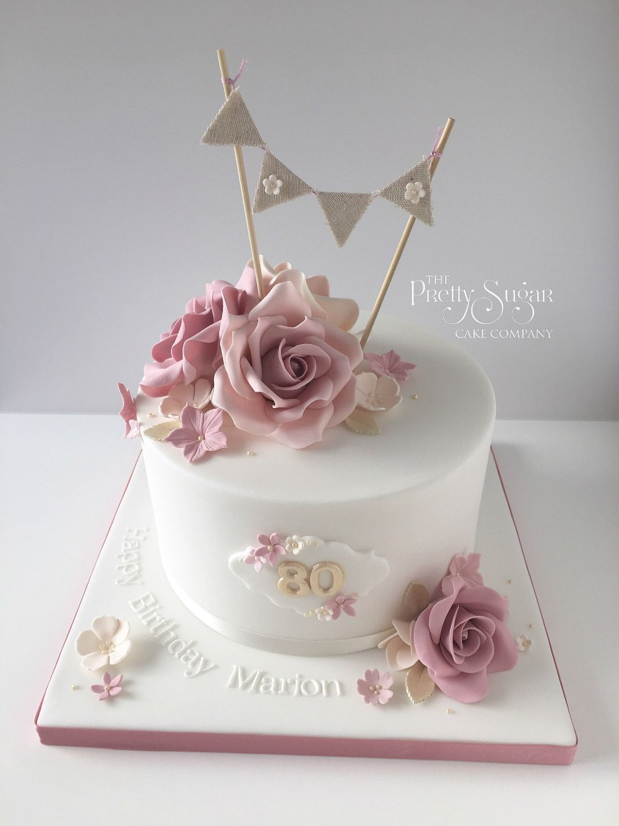 70Th Birthday Cakes Vintage Style 80th Birthday Cake With Sugar Roses And Bunting Topper