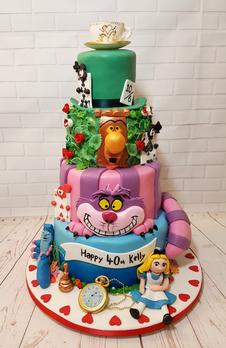 Alice In Wonderland Birthday Cake Tiered Alice In Wonderland Theme Cake Quality Cake Company Tamworth