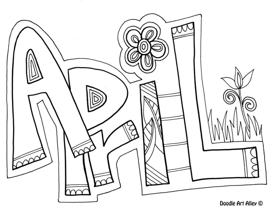 April Coloring Pages Months Of The Year Coloring Pages Classroom Doodles