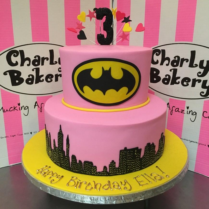 Batgirl Birthday Cake 2 Tier Batman Batgirl Themed Cake Covered In Pink Fondan Flickr