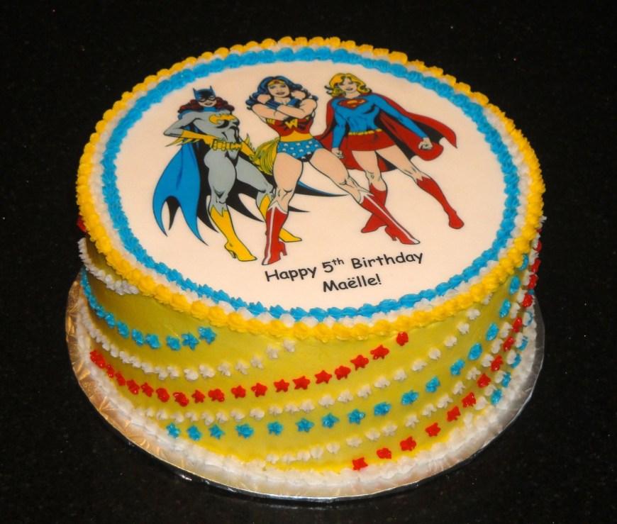 Batgirl Birthday Cake Super Hero Birthday Cake With Batgirl Wonder Woman And Supergirl