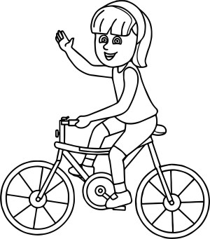 Bike Coloring Pages Riding Girl On Bicycle Coloring Page Wecoloringpage