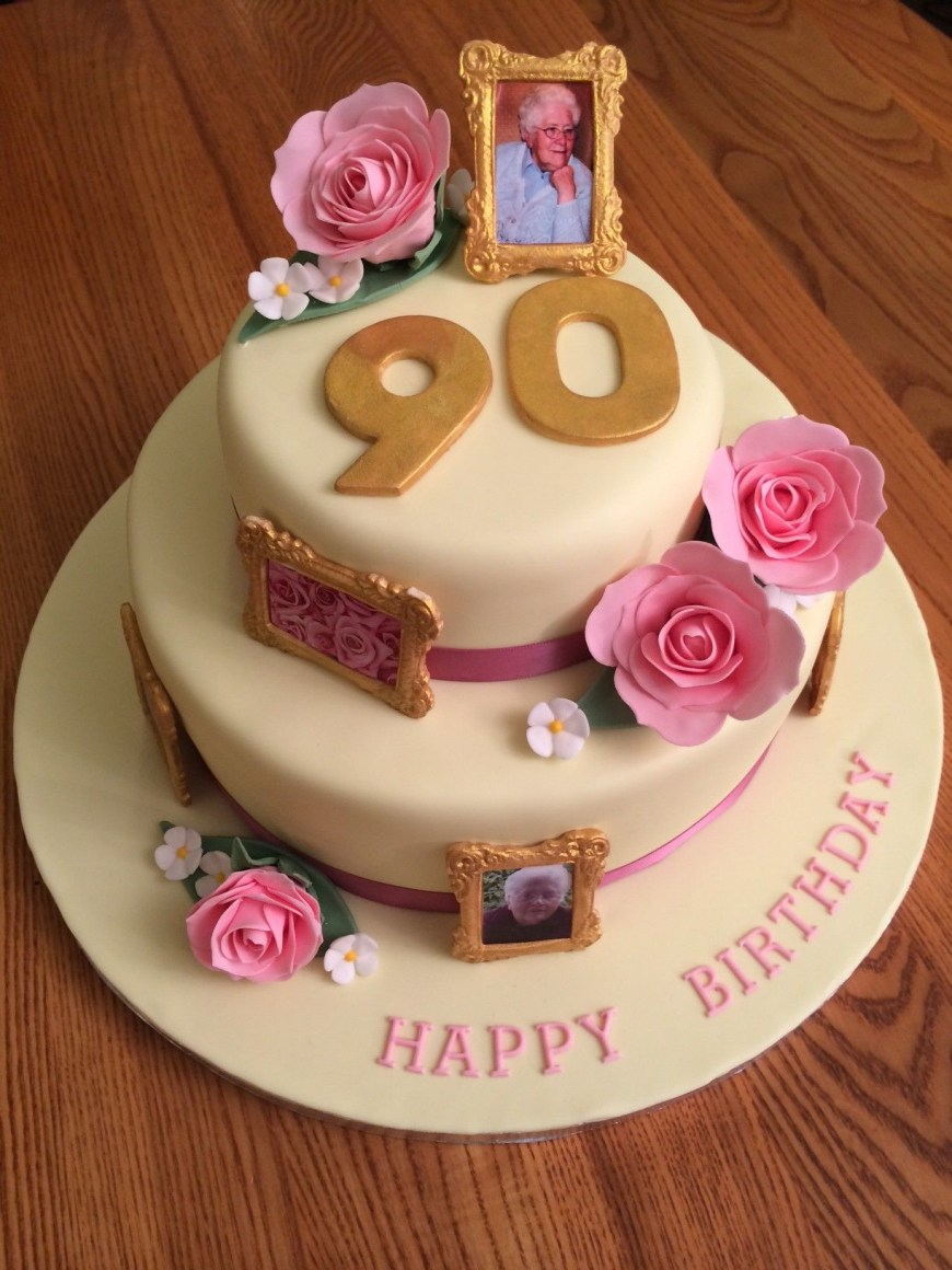 Birthday Cake Photo Frame 90th Birthday Cake With Gold Photo Frames And Pink Roses 85