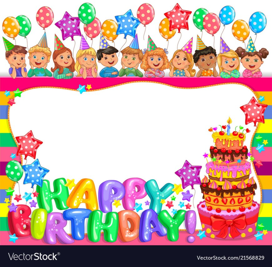 Birthday Cake Photo Frame Birthday Bright Frame With Cake And Cute Kids Vector Image