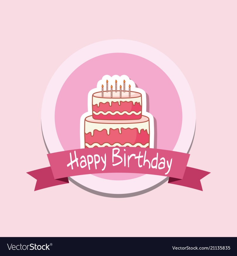Birthday Cake Photo Frame Happy Birthday Frame With Sweet Cake Royalty Free Vector