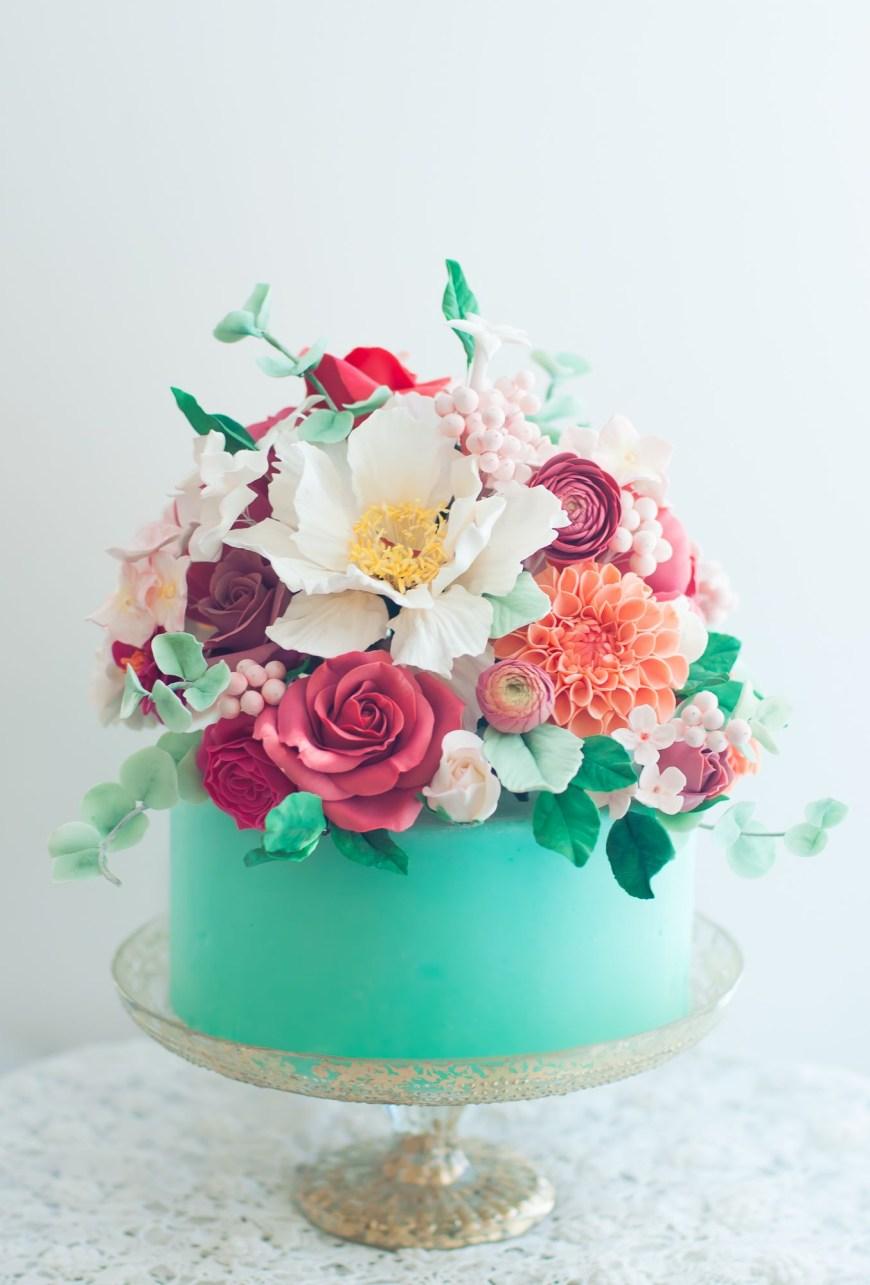 Birthday Cakes With Flowers Aqua Floral Cake Lulus Sweet Secrets Cake Pinterest Cake