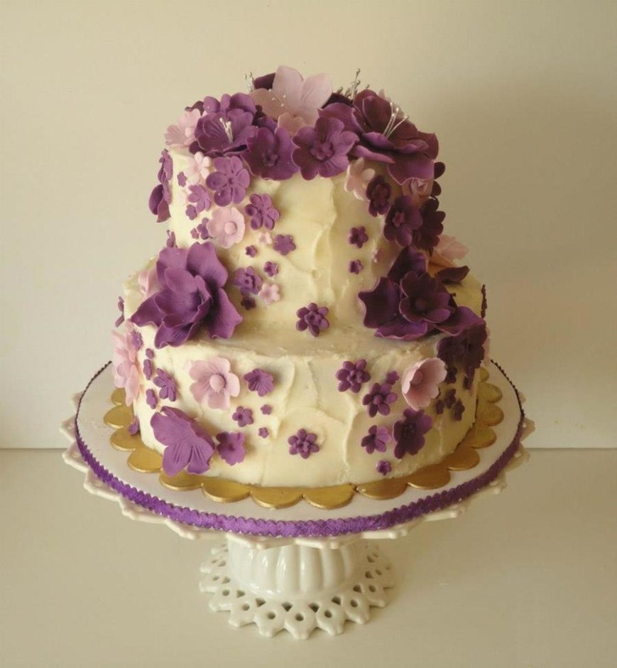 Birthday Cakes With Flowers Cascading Purple Flowers Birthday Cake Cakecentral