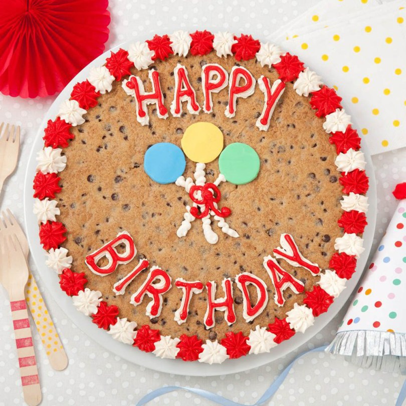 Birthday Cookie Cake Mrs Fields Happy Birthday Balloons Cookie Cake The Grove At