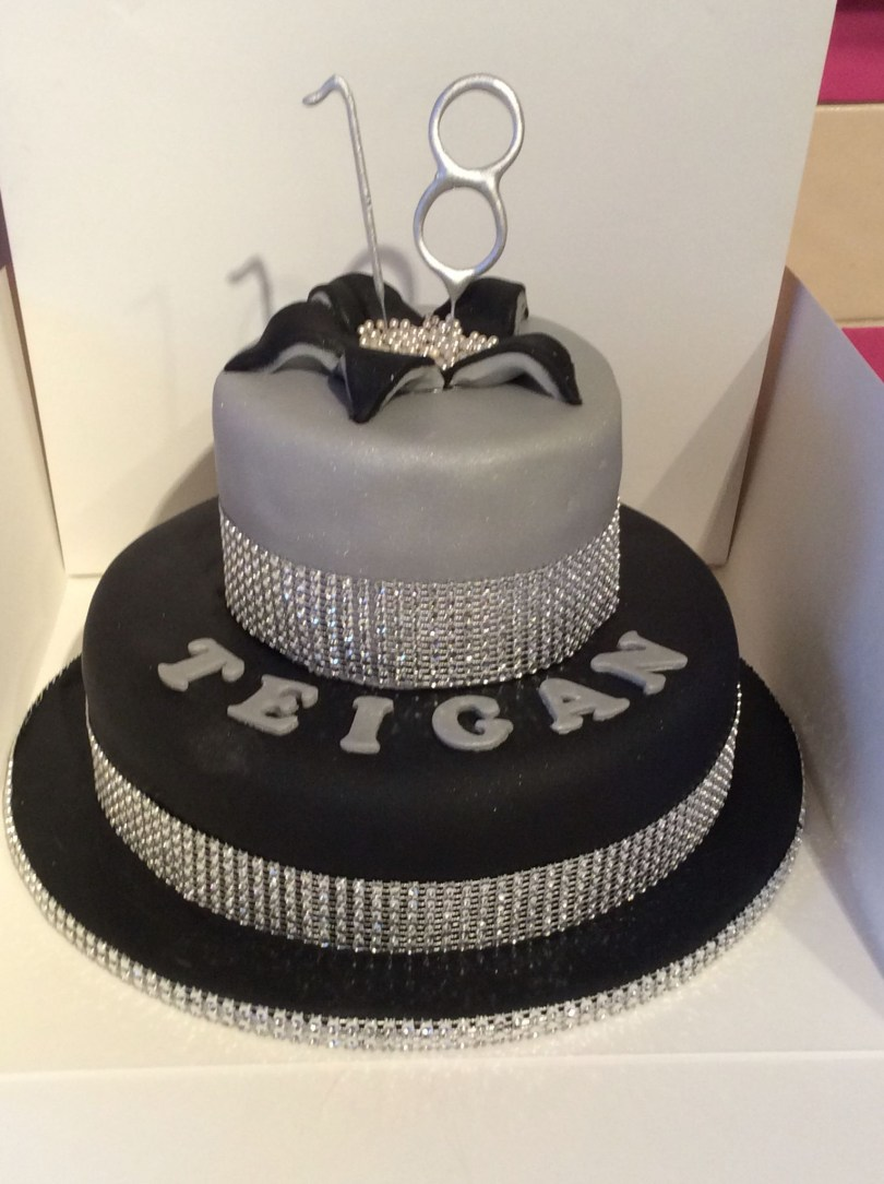 Bling Birthday Cakes 18th Birthday Cake Black Silver And Bling Theme Birthday Cakes