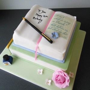 Book Birthday Cake 70th Open Book Birthday Cake With Jane Eyre Quote Pen And Ink Pink