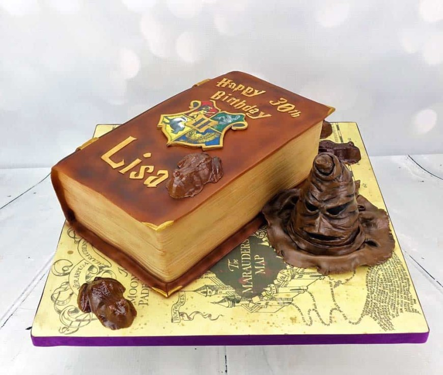 Book Birthday Cake Harry Potter Book Birthday Cake With Sorting Hat Angie Scott Cakes