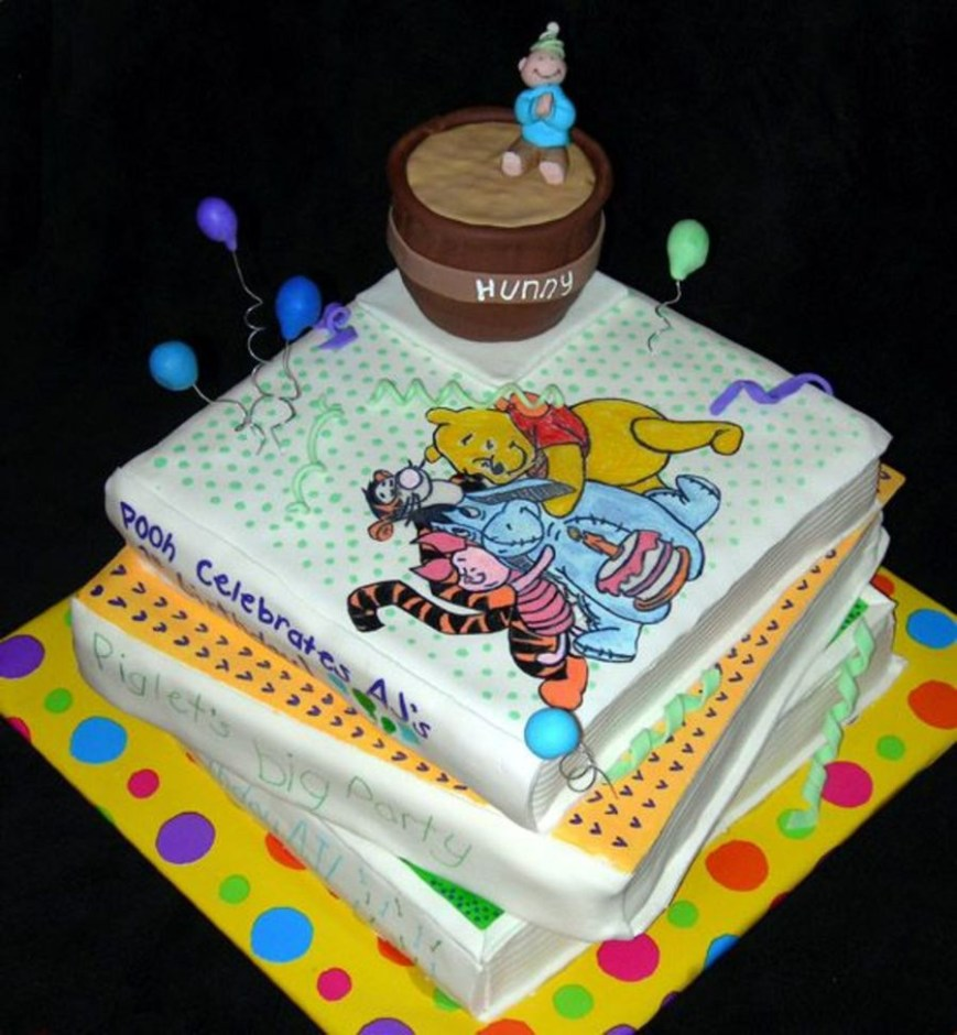 Book Birthday Cake Winnie The Pooh Books Birthday Cake Cakecentral