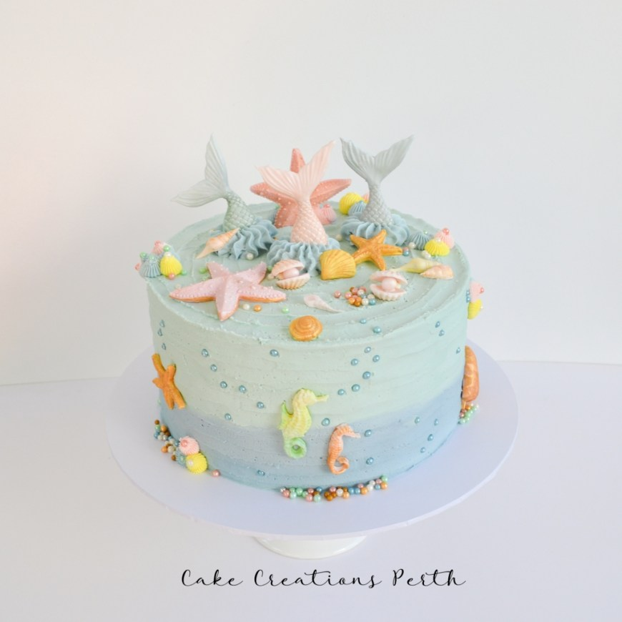 Buttercream Birthday Cakes Mermaid Themed Buttercream Birthday Cake Cake Creations Perth