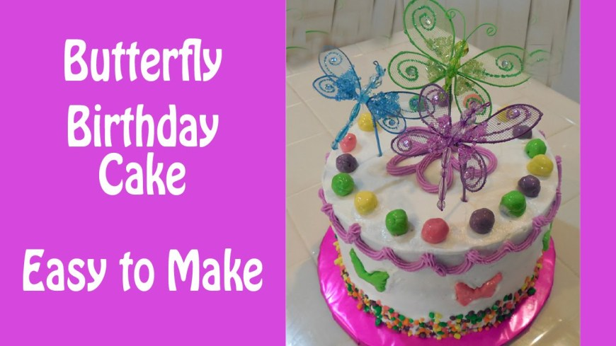 Butterfly Birthday Cake How To Make A Colorful Butterfly Birthday Cake Youtube