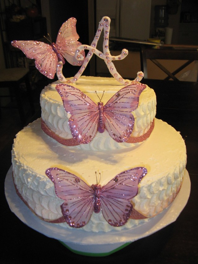 Butterfly Birthday Cake Pink And White Butterfly Birthday Cake Cakecentral