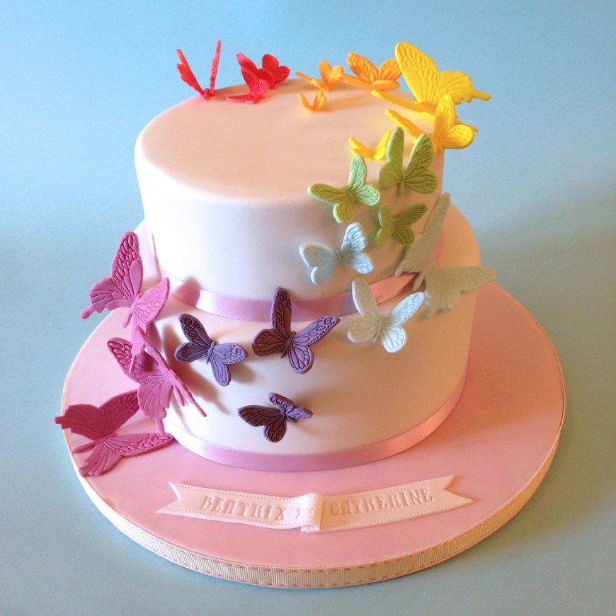 Butterfly Birthday Cakes Rainbow Butterflies Birthday Cake A Simple And Pretty Desi Flickr