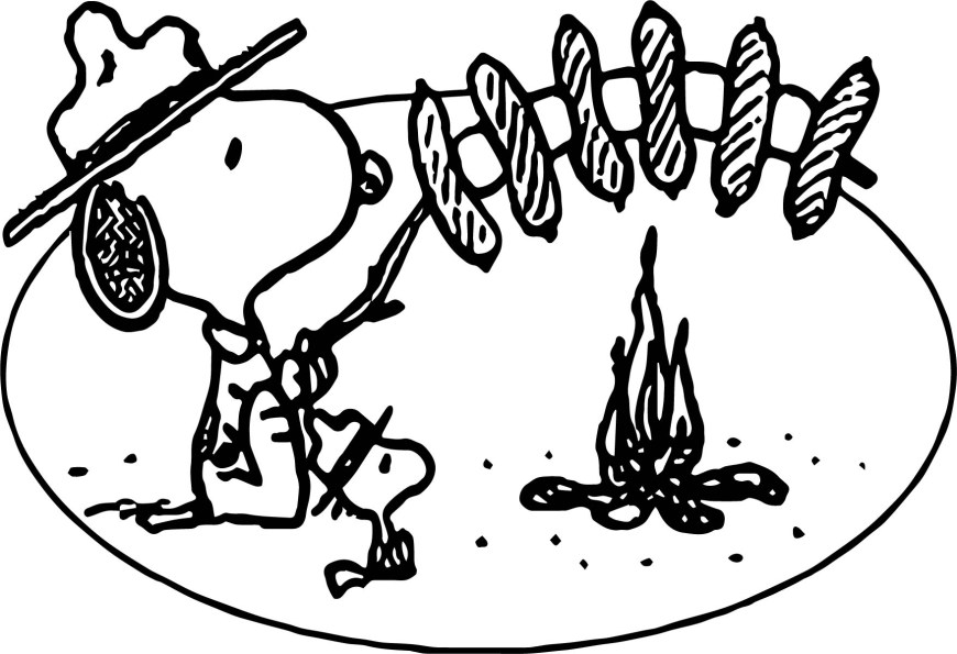 Camping Coloring Pages Art Snoopy Camping Coloring Page Wecoloringpage