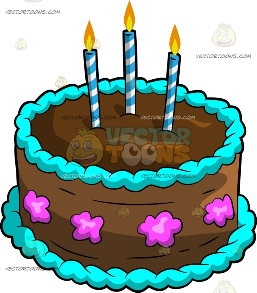 Cartoon Birthday Cake A Chocolate Birthday Cake With Candles Clipart Vector Toons