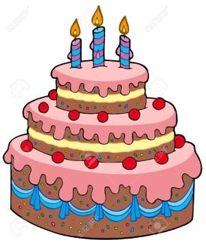 Cartoon Birthday Cake Big Cartoon Birthday Cake Vector Illustration Royalty Free