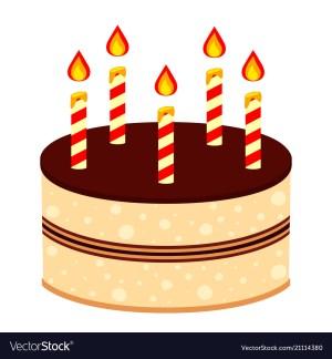 Cartoon Birthday Cake Colorful Cartoon Birthday Cake 5 Candles Vector Image