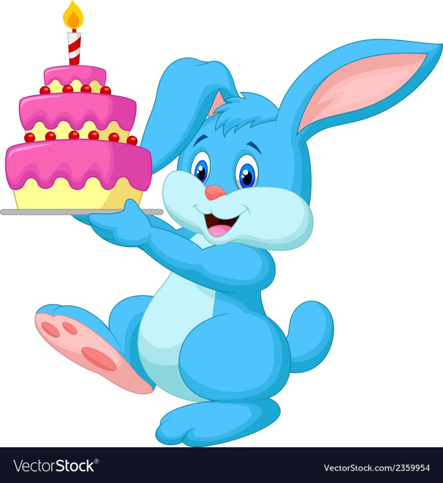 Cartoon Birthday Cake Rabbit Cartoon With Birthday Cake Royalty Free Vector Image
