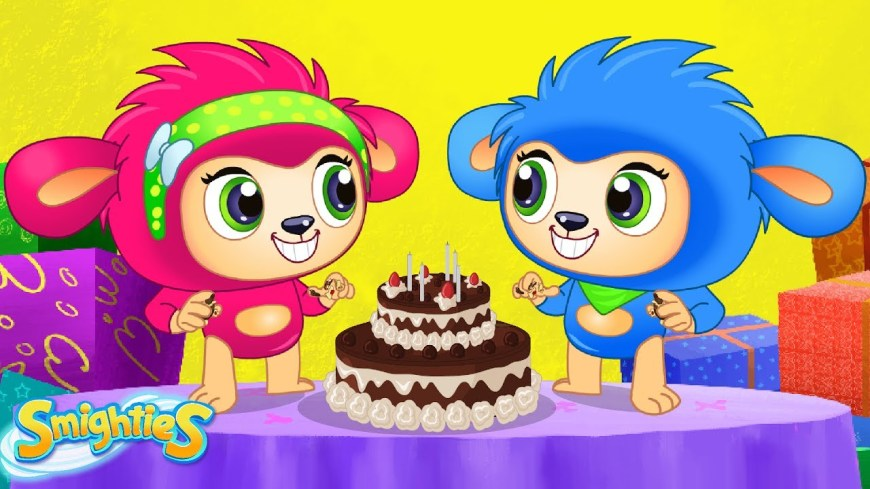 Cartoon Birthday Cake Smighties Giant Surprise Birthday Cake Party Cartoons For Kids