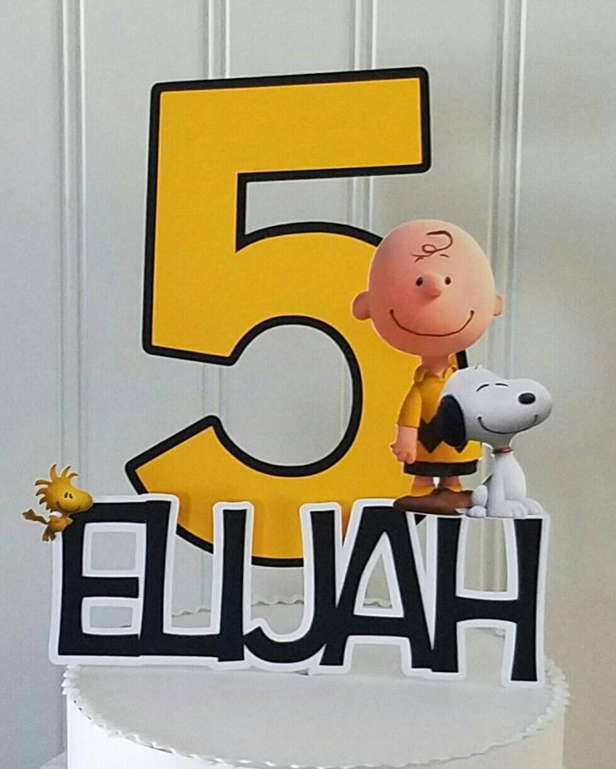 Charlie Brown Birthday Cake Charlie Brown Cake Topper Peanuts Cake Topper Charlie Brown Etsy