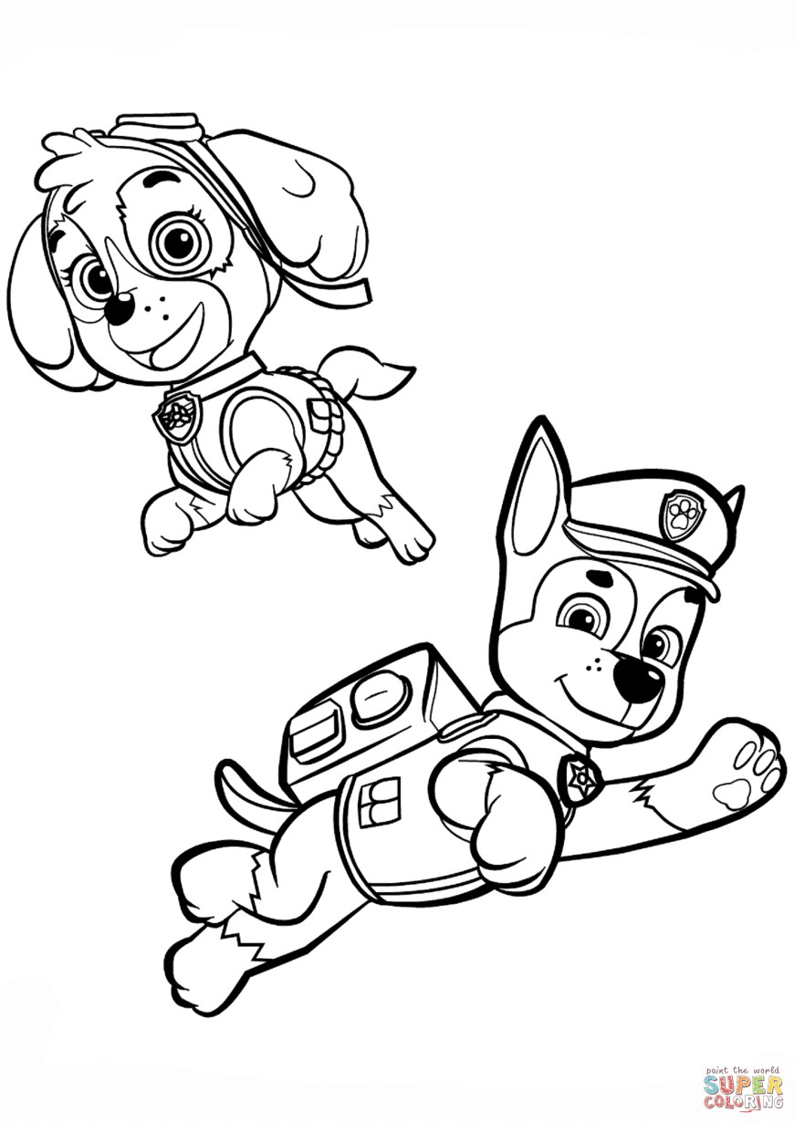 Chase Coloring Page Chase And Skye Coloring Page Free Printable Coloring Pages