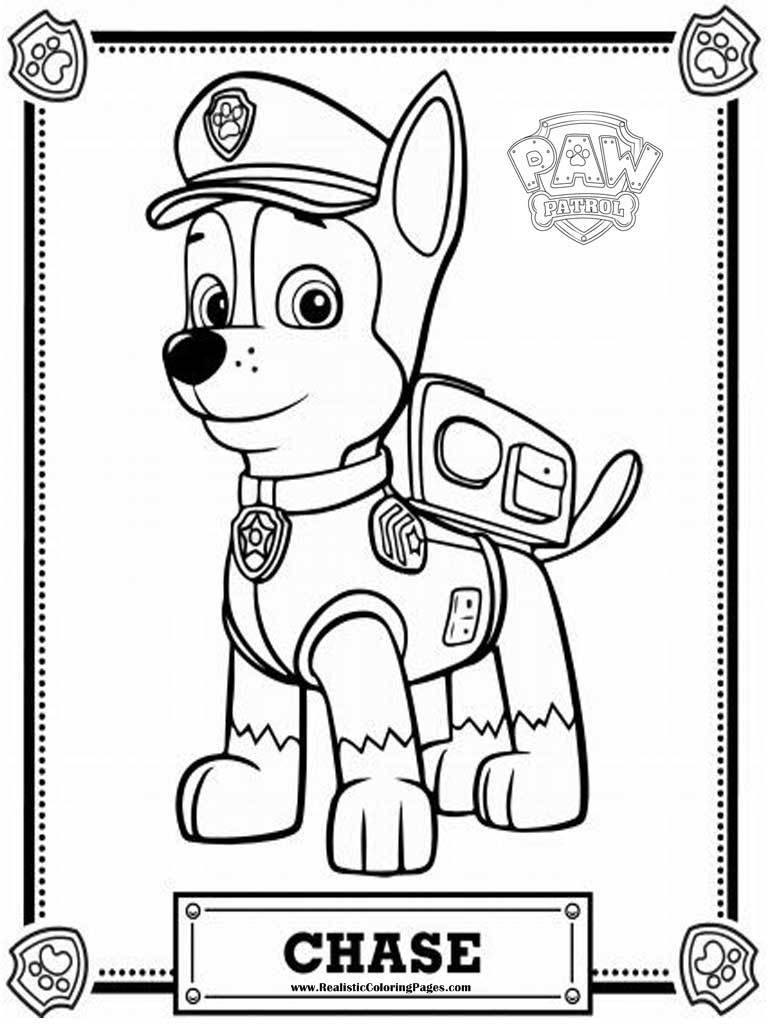 Chase Coloring Page Paw Patrol Coloring Pages Chase Realistic Coloring Pages