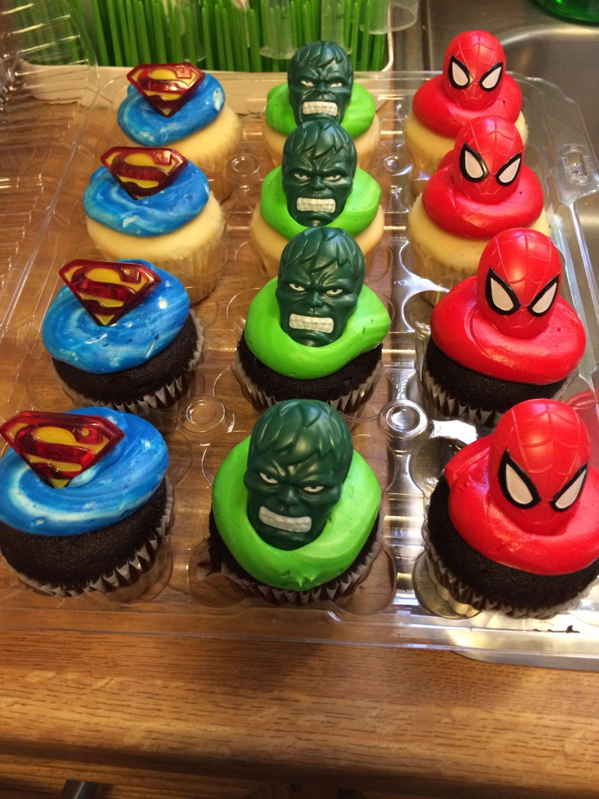 Cheap Birthday Cakes Superhero Rings On Store Bought Cupcakes Tom Thumb For Cheap