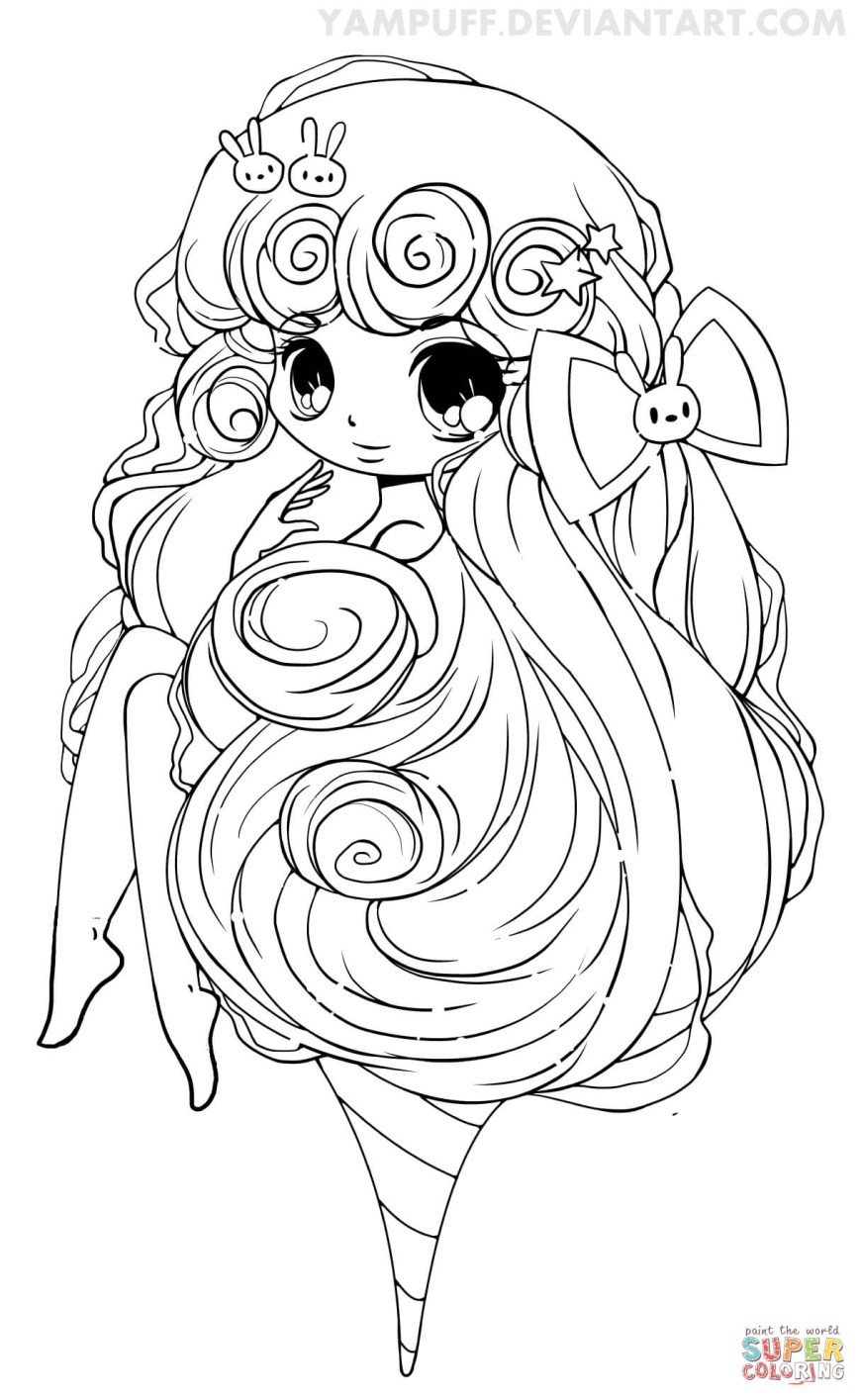 Chibi Coloring Pages Chibi Cotton Candy Girl Coloring Page Free Printable Coloring Pages