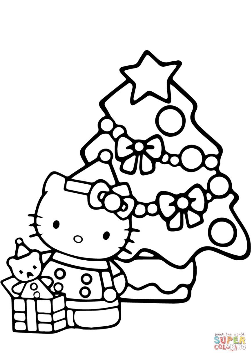 Christmas Coloring Pages Hello Kitty Christmas Coloring Page Free Printable Coloring Pages